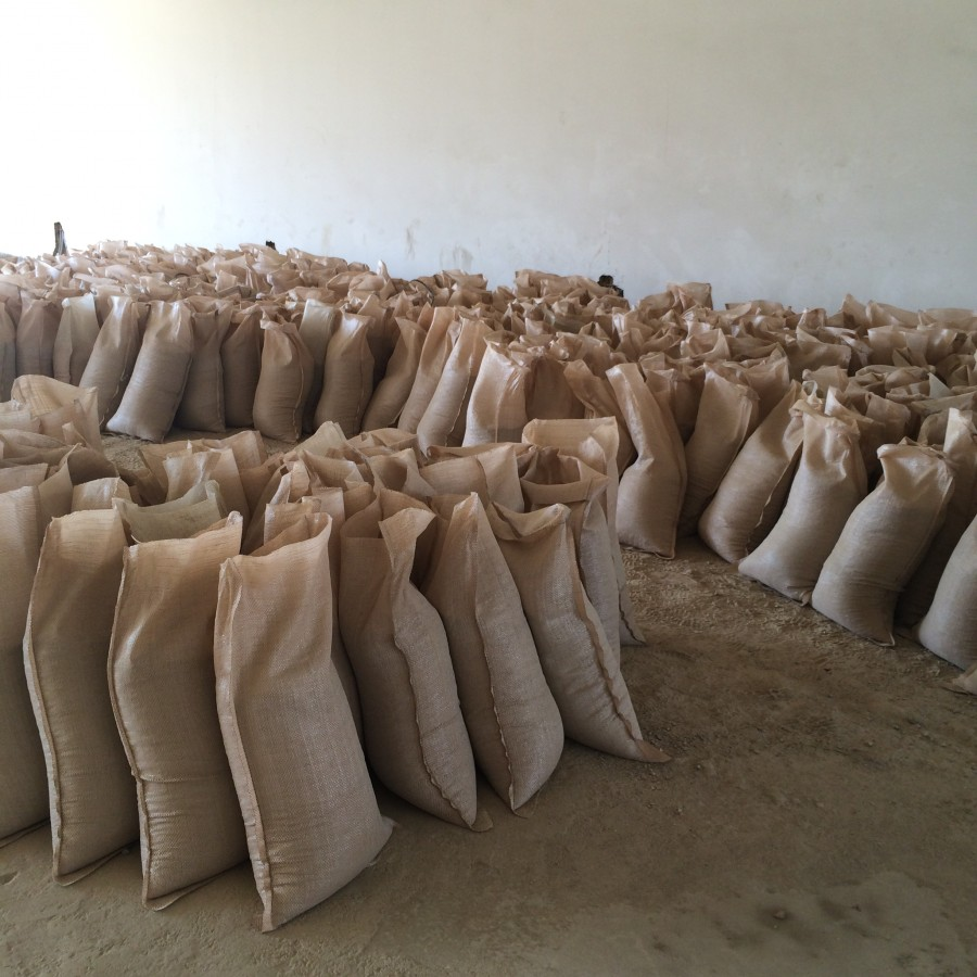 sandbags at construction place, Lebanon 2016
