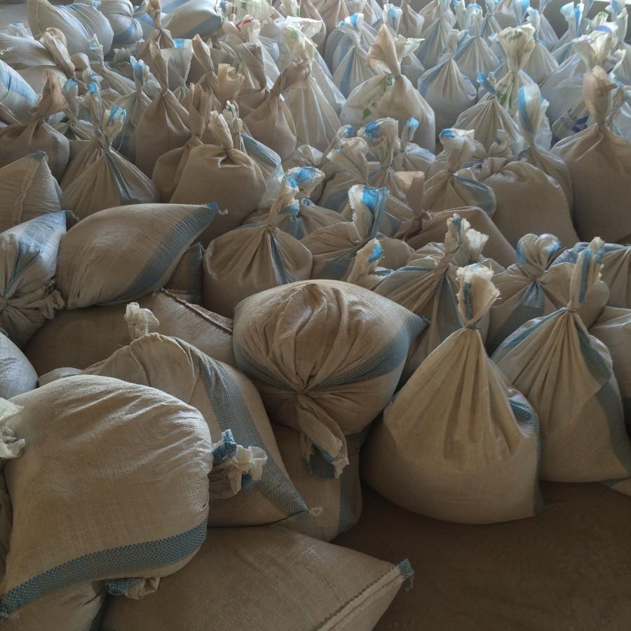 sandbags at construction place, Lebanon 2016